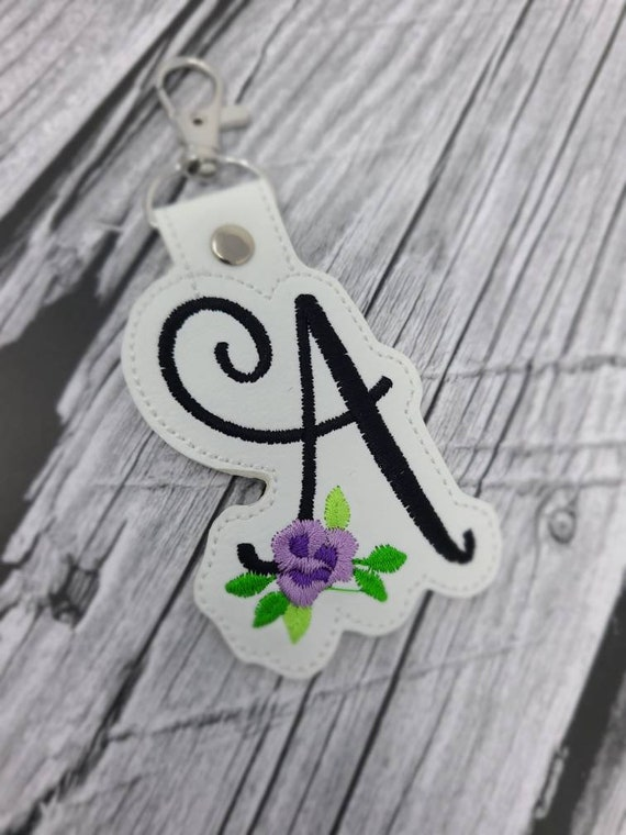 Monogram Keychain, letter Keychain, Embroidery faux leather keychain