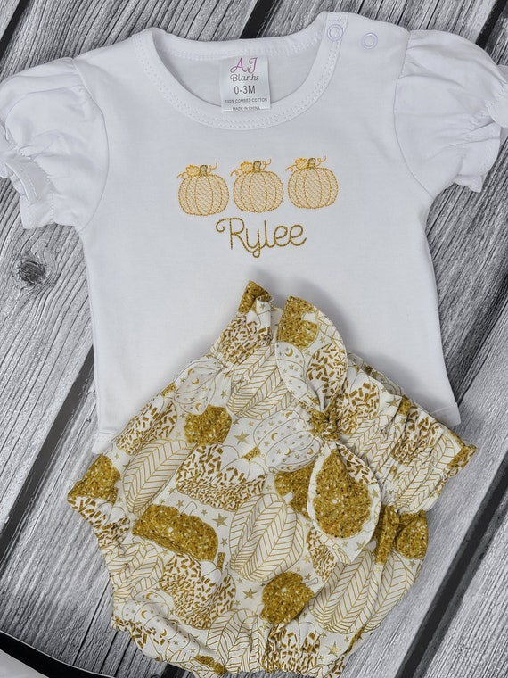 Fall Baby Outfit , Gold Pumpkin Baby Girl Outfit , Pumpkin Embroidery Bodysuit, High Waist Paper Bag Bummies, Set of Sailor Bows