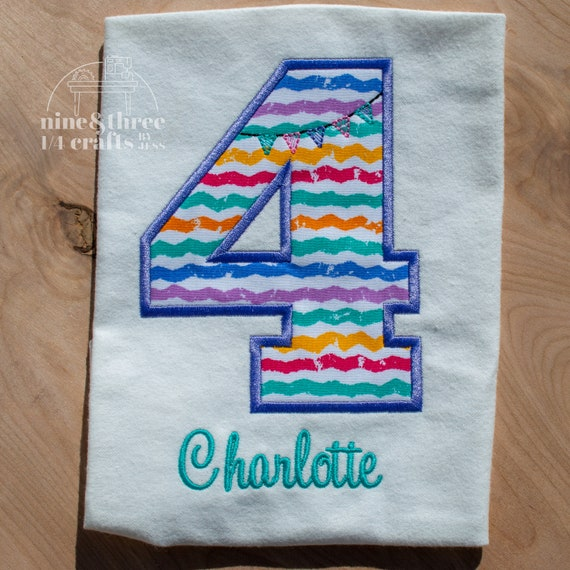 Chevron Girl Birthday Embroidery Shirt
