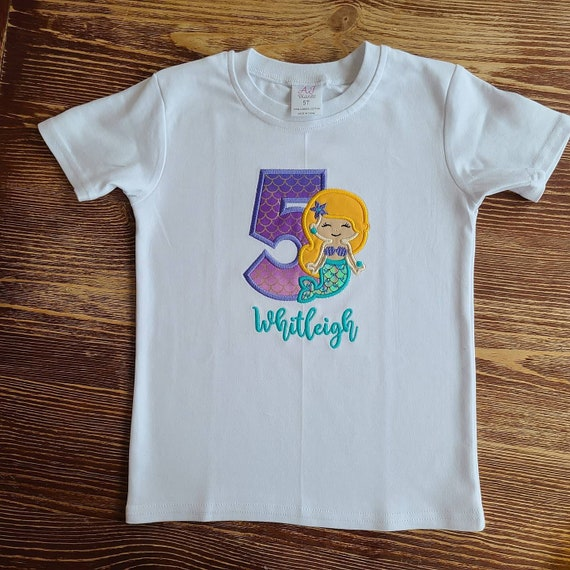 Mermaid Birthday Embroidery Shirt