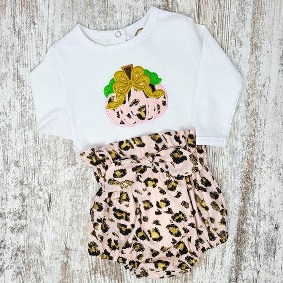 Pumpkin leopard print Bodysuit and Paper Bag High Waist Bloomers set