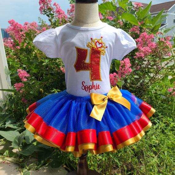 Red Blue Gold Birthday Tutu outfit , Birthday Crow Shirt, Birthday tutu