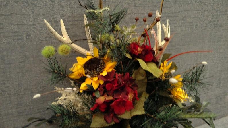 Rustic Burg Sunflower Farm wedding Centerpiece Deer antler bouquet Pine Bridesmaid Country hydrangea Antl\u00e9r Boutonniere woodland