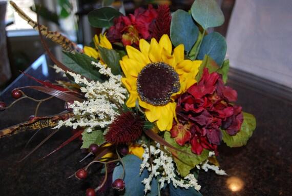 burgundy hydrangea pheasant feather farm Wedding fall Rustic Wedding bouquet rustic country summer Bridal Bouquet sunflower