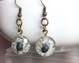 Bronze Lava Rock Gemstone Glass Dangle Essential Oil Diffuser Earrings