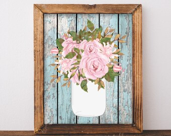 Shabby Chic Decor Wall Art Printable Prints Printables Mason Jar