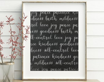 Fruit of the Spirit, Wall Art, printable, wall decor, bible verse, bible verse wall art, french country, chalkboard, scripture, wall decor