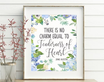 Jane Austen, printable, jane austen gift, french country, jane austen print, literature quotes, wall art, wall decor, watercolor printable