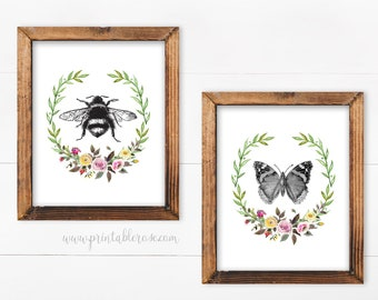 Beau Bathroom Wall Art, Printable Wall Art, Bathroom Wall Decor, Bathroom Decor,  Butterfly, Bee, Vintage, French Country Decor, Bathroom Art