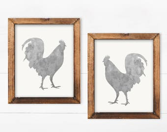 Set of 2 Prints, Rooster Decor, printable, farmhouse, french country, rooster kitchen decor, kitchen decor, rooster wall art, rooster, print