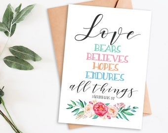 Wedding Gift, printable cards, printable card, cards, inspirational, love bears all things, wedding gift card, bible verse, anniversary card