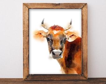 Cow Art, farmhouse decor, printable art print, watercolor, farmhouse wall art, rustic home decor, farm animal, cow art decor