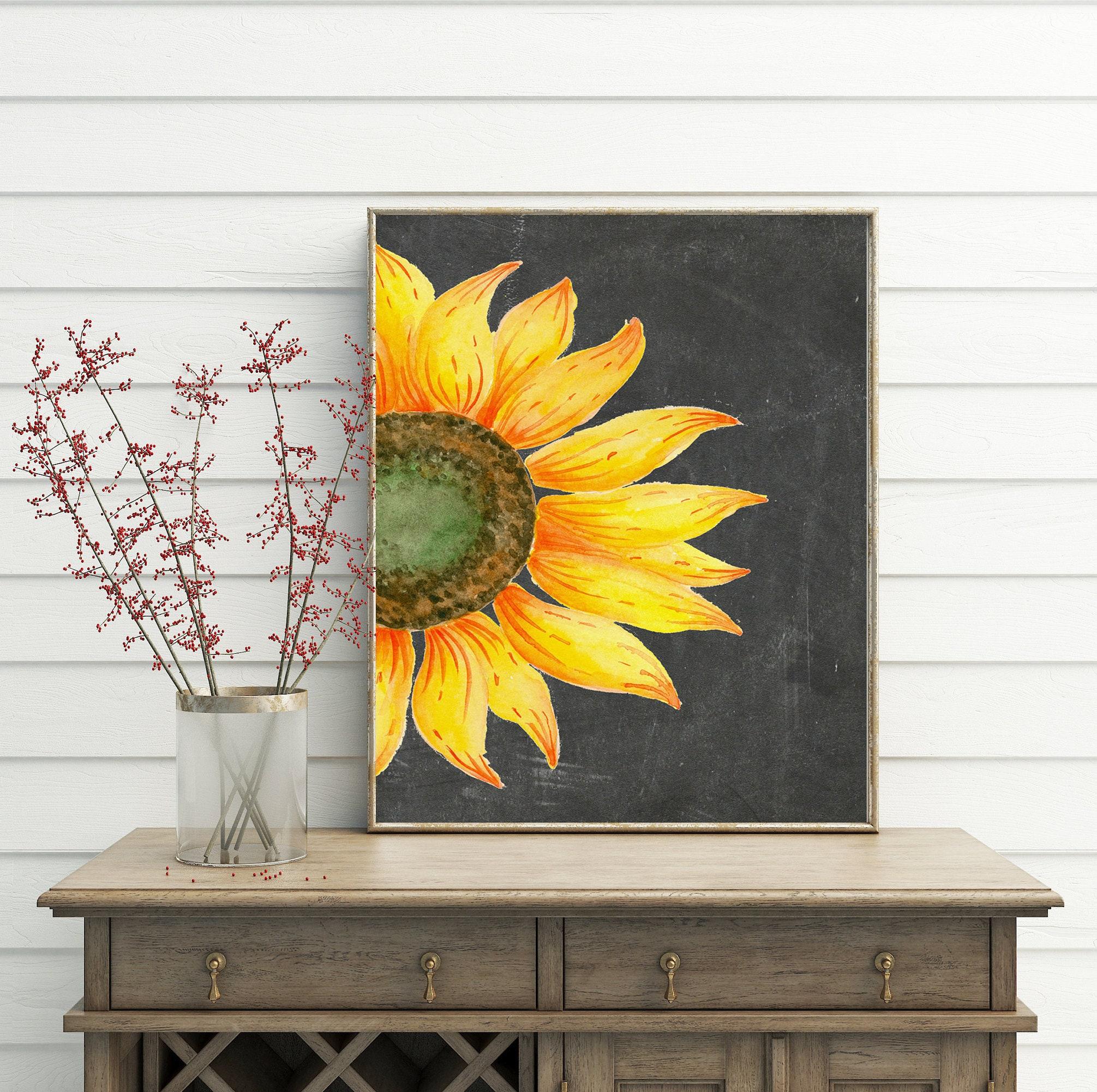 Sunflower Decor printable wall art sunflower print french | Etsy