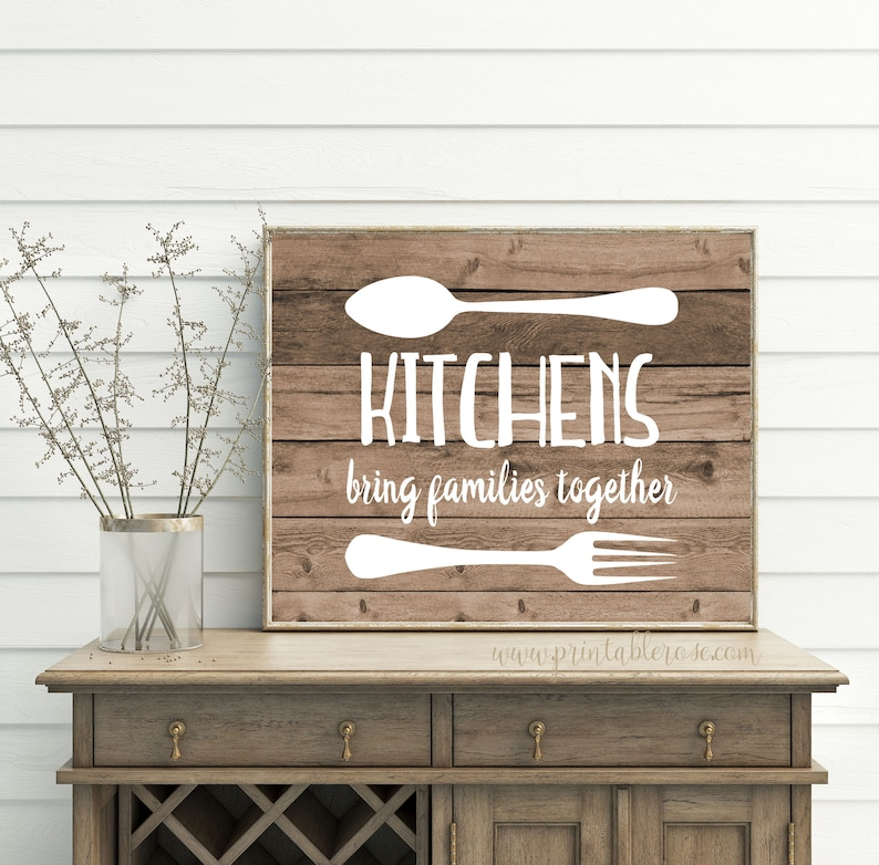 Farmhouse Kitchen Printable Wall Art Wood Wall Art Kitchens Bring Families Together Kitchen Sign Wood Signs Kitchen Decor Kitchen Art