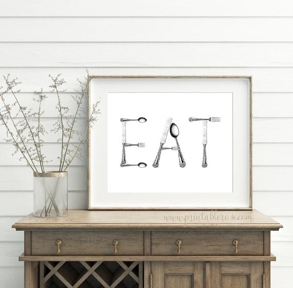 Eat Sign Kitchen Printable Eat Sign For Kitchen Eat Sign | Etsy