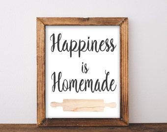 Happiness is Homemade, printable, sign, wall art, wall decor, kitchen decor, kitchen quotes, kitchen quote, kitchen wall decor, kitchen