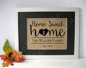First Home - Personalized Family Name Sign - Burlap Housewarming Print - First Home Gift- New Home Sweet Home - Custom House Warming Gift