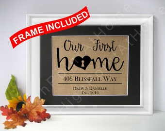 88e31ce3483fa Our First Home - Personalized Family Name Sign - FRAMED Burlap Housewarming  - Our First Home Sign- New Home Gift- Custom Sign- House Warming