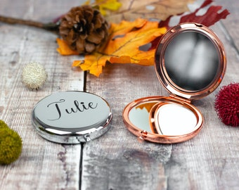 Personalised Name Rose Gold Compact Mirror,  Wedding Bridesmaid Gift, silver compact mirror