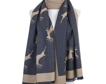 Grey and Beige stag print scarf wrap, warm winter scarf, Ladies scarves, Christmas Gifts