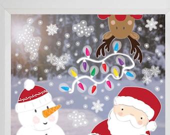 Santa Reindeer Christmas Window vinyl stickers , Christmas Decorations, Window Sticker, Christmas Stickers,