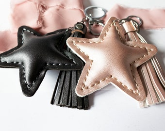 Tassel star keychain, Faux Leather Keyring, Gift Ideas, Stocking Fillers, Christmas Gifts