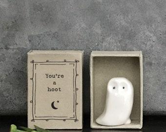 East Of India Matchbox Porcelain owl Ornament, Porcelain owl Birthday Gift, Porcelain Gift, Home Gift