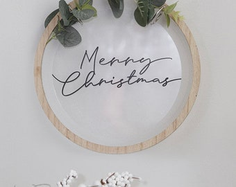 Merry Christmas Wreath, Wooden Christmas Wreath,, Holiday Wreath, Door Wreath, Christmas Decor, Holiday Season Decor, Scandi Christmas