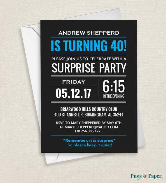 12 x Personalised Mens Birthday Party Invitations Surprise Adult Bowtie