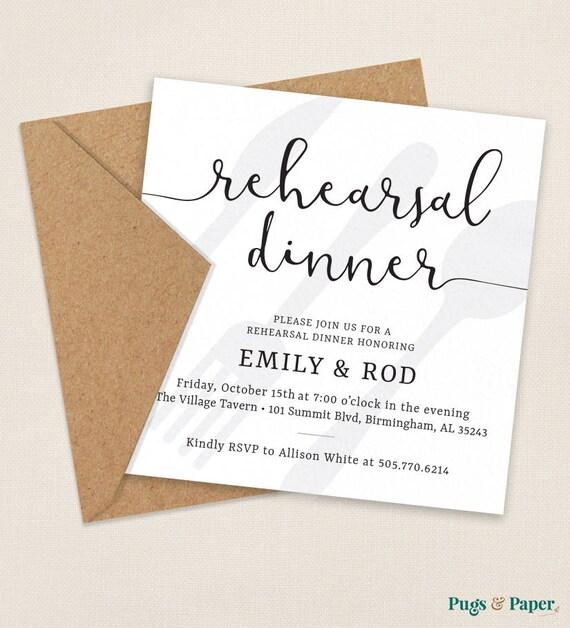 Rehearsal Dinner Invitation Wedding Rehearsal Invitation | Etsy