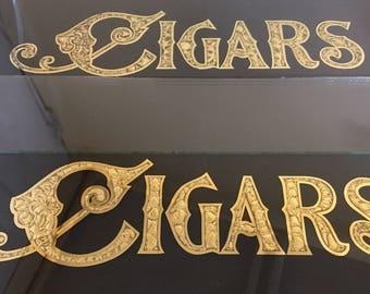 Cigars sign acid etched glass gold leaf