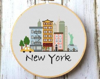 Cross Stitch Sampler Landscape Cross Stitch Modern Cross Stitch America Cross Stitch City Cross Stitch New York Cross Stitch Pattern