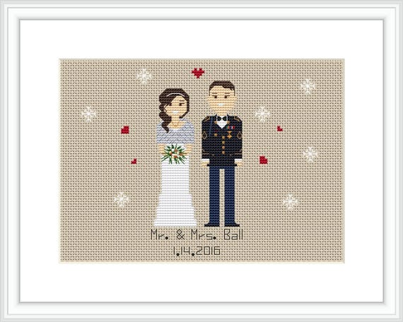 Custom Cross Stitch Wedding Portrait Pdf Pattern Wedding Gift Etsy