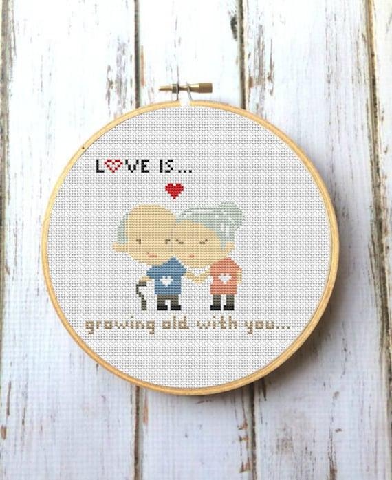 LOVE IS... Cross Stitch Pattern Modern Wedding cross stitch | Etsy