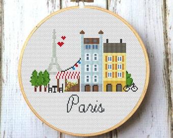 Paris cross stitch pattern Modern Cross stitch pattern PDF Eiffel Tower cross stitch Pretty Little Paris  Instant download X033