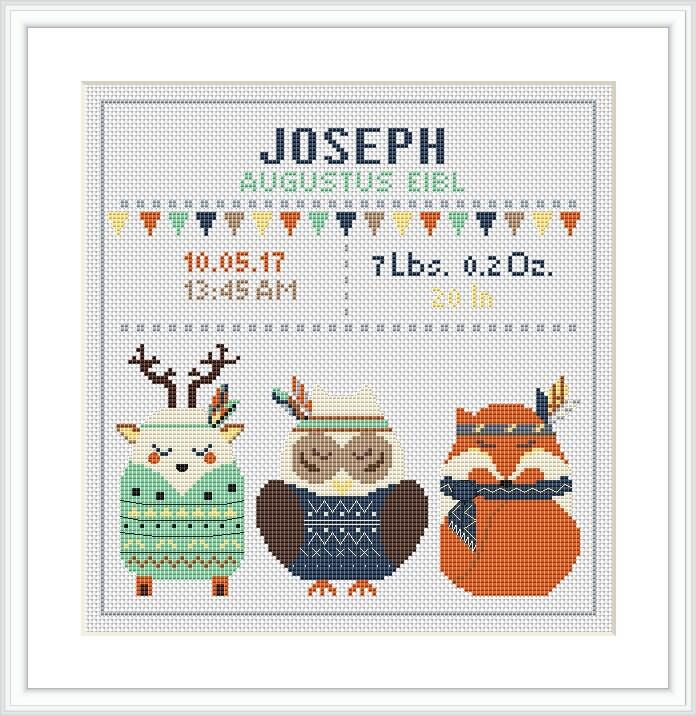 Baby Cross Stitch Pattern Wald Tiere Fuchs Eule Deer Geburt | Etsy