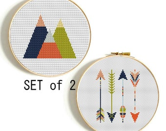 Set of 2 Mountains and Arrows cross stitch pattern PDF Modern cross stitch Baby cross stitch Geometric Tribal nursery Instant download