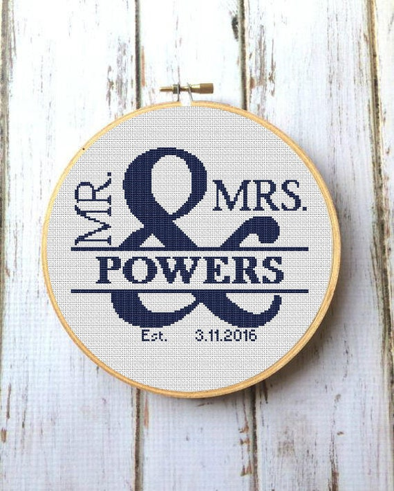 Custom Wedding Cross Stitch Pattern Pdf Mr And Mrs Etsy