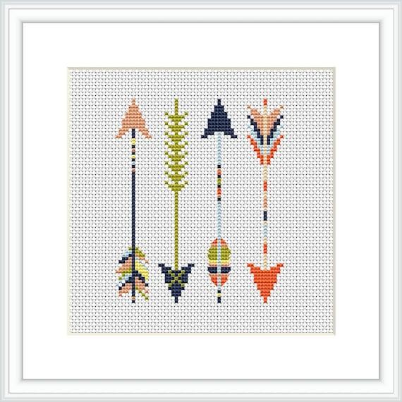 Arrows cross stitch pattern Easy cross stitch Aztec style pattern Modern  cross stitch pattern Arrows native Counted cross stitch X216