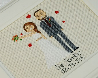 Cotton anniversary gift for her him Cross stitch portrait Personalized Wedding Anniversary gift 2nd Anniversary present for husband for wife
