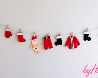 Santa's Christmas's Washing Line Bunting Garland/Santa Claus Laundry Clothesline/Christmas gift/Santa Holiday garland/Xmas fireplace decor