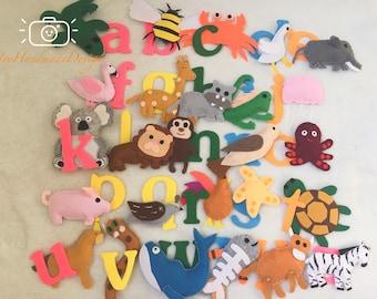 abc alphabet animal/Alphabet and Matching Animals Felt Set/Stuffed Animals/Language/Learning/Teaching Set/Educational Resources/Montessori