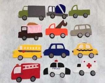 12 sets of Transportation/Vehicles Felt Board Set/kid Flannel Board / Imagination / Preschool / Trucks / Cars / Road Cars toys/ Kids car toy
