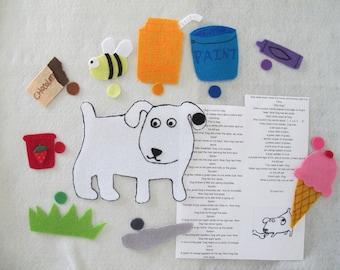 Dog's Colorful Day felt story set/teaching resource/ Flannel Board /Preschool/Teacher Story/Circle Time/Teaching Resource/Felt Animals/Gift