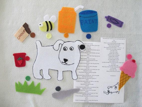 Dog S Colorful Day Felt Story Set Teaching Resource Etsy