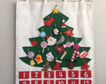 Christmas Tree fabric advent calendar felt wall mat with 24 Ornaments Decoration/countdown/Roll Up Play Mat/Quiet Time Mat/Personalized Gift
