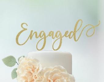 Engaged Cake Topper, Engagement Cake Topper