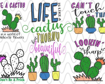 Cactus Bundle Can't touch this, cactus,  aztec, southwest SVG Design File, Cut File Silhouette and Cricut