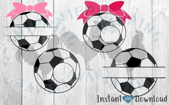 4 Soccer Monogram & Name Frames 2 Bows SVG Cricut Silhouette Circles ...