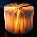 Accent lamp made of an old book - Paper table lamp - Warm light - Recycling - Upcycling - Handmade